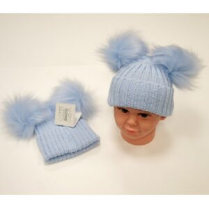 Double Pom Pom Hat Blue