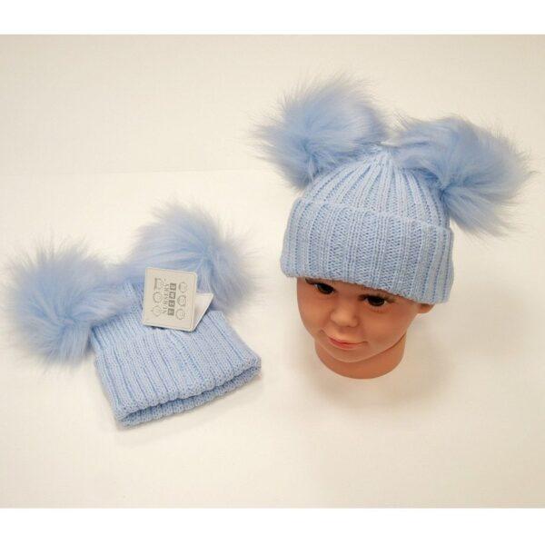 Double Pom Pom Hat Blue