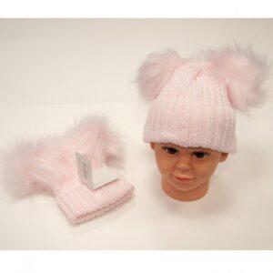 Double Pom Pom Hat Pink