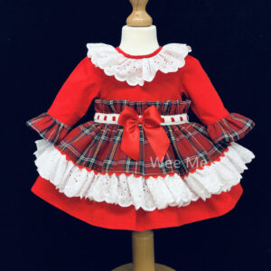 Wee Me Lace Collar Tartan Dress