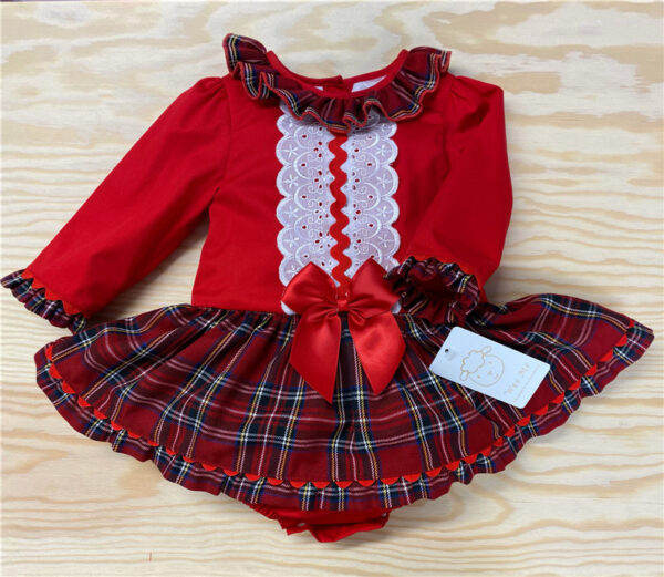 Wee Me Tartan Collar Romper Dress