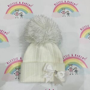 White Diamante Bow Pom Pom Hat